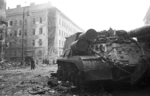ISU-152 self-propelled gun at the intersection of Üllői Street and József Boulevard, Budapest, Hungary, 30 Oct 1956, photo 1 of 4