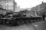 ISU-152 self-propelled gun at the intersection of Déri Miksa Street and Auróra Street, Budapest, Hungary, 30 Oct 1956