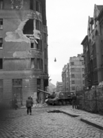 ISU-152 self-propelled gun at the intersection of Fecske Street and Déri Miksa Street, Budapest, Hungary, 30 Oct 1956, photo 2 of 7