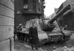 ISU-152 self-propelled gun at the intersection of Fecske Street and Déri Miksa Street, Budapest, Hungary, 30 Oct 1956, photo 3 of 7