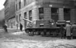 ISU-152 self-propelled gun at the intersection of Fecske Street and Déri Miksa Street, Budapest, Hungary, 30 Oct 1956, photo 4 of 7