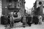 ISU-152 self-propelled gun at the intersection of Fecske Street and Déri Miksa Street, Budapest, Hungary, 30 Oct 1956, photo 7 of 7