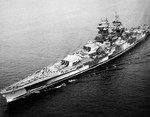 Aerial view of Richelieu just after a refit, off New York City, New York, United States, Sep-Oct 1943, photo 1 of 4