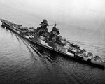 Aerial view of Richelieu just after a refit, off New York City, New York, United States, Sep-Oct 1943, photo 2 of 4