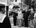 Sir Andrew Cunningham, Dwight Eisenhower, Henry Hewitt, and Walter Bedell Smith at Allied Forces Headquarters in Hotel St. George, Algiers, Algeria, 16 Oct 1943.