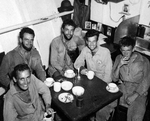 Aboard the seaplane tender USS Tangier in San Pedro Bay, Leyte, Philippines 10 Jan 1945 are five downed United States Navy airmen rescued the day before by a PBY Catalina near Subic Bay, Luzon, Philippines.
