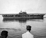 Aircraft carrier USS Enterprise at Espiritu Santo, New Hebrides, 11 Apr 1943.