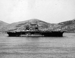 Aircraft carrier USS Saratoga at Noumea, New Caledonia, 22 Apr 1943.