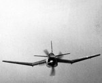 Head on view of a Douglas BTD Destroyer showing some of its unusual shapes during a test flight in the Chesapeake Bay area, United States, 25 Jul 1944.