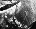Aerial attack on German U-1229 in the North Atlantic by TBF Avengers and F4F Wildcats of Composite Squadron VC-42 flying from Escort Carrier USS Bogue, 20 Aug 1944. U-1229 was sunk with 18 killed and 41 rescued.