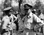 General Douglas MacArthur at a field-conference of high-ranking Allied officers at Labuan, North Borneo, 10 Jun 1945.