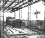 Ship Danzig under construction on Slip I of Nordseewerke shipyard, Emden, Germany, 1920 or 1921