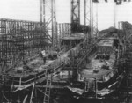 Ships Danzig and Theben under construction on Slip I of Nordseewerke shipyard, Emden, Germany, 1920 or 1921