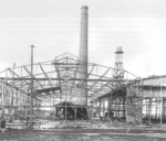 Framework of the shipbuilding hall under construction, Nordseewerke shipyard, Emden, Germany, 1905