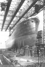 The 5,800-ton cargo ship Odin nearing completion on Slip II of Nordseewerke shipyard, Emden, Germany, 1929