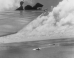Ise and Shimotsuki during Battle off Cape Engaño, 25 Oct 1944; photo taken from a TBF Avenger aircraft of VT-51 with damaged wing