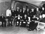 President Franklin Roosevelt and his dinner guests aboard the cruiser USS Augusta at the Atlantic Conference, Placentia Bay, Newfoundland, 9 Aug 1941.