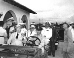 Franklin Roosevelt inspecting facilities in Natal, Brazil as he travels back to the United States after the Casablanca Conference, 28 Jan 1943. Brazilian president Getulio Vargas is seated in the back seat of the Jeep.