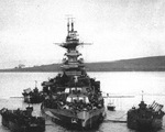 Battleship HMS Malaya at anchor in Gutter Sound, Scapa Flow, Orkney Islands, Scotland, United Kingdom, Aug 1943.