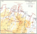 Map of Juno Beach Normandy, France showing 3rd Canadian Infantry Division D-Day landing objectives and front line as of midnight 6 Jun 1944.