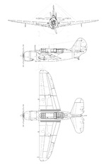 Post-war line drawing of the Curtiss SB2C Helldiver.