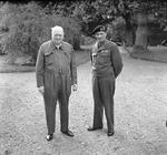 "Winston Churchill and Bernard Montgomery in southern England, United Kingdom, 19 May 1944. Churchill is in what was called a ""siren suit."""