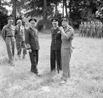 Following a presentation of medals, Royal Navy Admiral Sir Bertram Ramsay, King George VI of the United Kingdom, and General Bernard Montgomery pause briefly, 16 Jun 1944, Château de Cruelly, France.