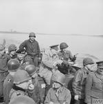 Field Marshal Bernard Montgomery and British Prime Minister Winston Churchill and other high-ranking officers crossing the Rhine south of Wesel in an LCVP, 25 Mar 1945. Note Churchill talking with the coxswain.