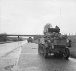 Stuart tank of the 3rd Royal Tank Regiment on the autobahn during the British Army's approach to Lubeck in northern Germany, 2 May 1945.