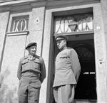 British Field Marshal Bernard Montgomery, left, and Soviet General Konstantin Rokossovsky, right, during a visit to Rokossovsky's headquarters in Wismar, Germany, 7 May 1945.