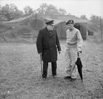 British Prime Minister Winston Churchill visiting Field Marshal Bernard Montgomery at Montgomery's headquarters at Lüneburg Heath, Germany, 21 Jul 1945.