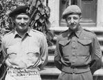 Portrait of Field Marshal Bernard Montgomery and his staff photographer Sgt. John Morris late in 1945. Note Montgomery's signature. This photo was a gift to Morris and is still in his family.