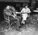 Lord Louis Mountbatten visiting General Bernard Montgomery at Montgomery's mobile headquarters in Blay, Normandy, France, 18 Aug 1944.