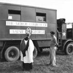 General Bernard Montgomery and Reverend H.L. Hughes, Deputy Chaplain General, inspecting a mobile church newly arrived in France, Blay, Normandy, France, 28 Aug 1944.