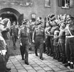 King George VI of the United Kingdom and Field Marshal Bernard Montgomery leaving church services in Eindhoven, Netherlands, 15 Oct 1944.