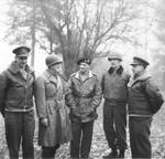 Generals Miles Dempsey, Courtney Hodges, Bernard Montgomery, William Simpson, and Henry (Harry) Crerar during a field conference, 31 Dec 1944.