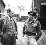 Sir John Anderson, Chancellor of the Exchequer (comparable to finance minister), meeting with Field Marshal Bernard Montgomery at Montgomery?s headquarters in Belgium, 4 Dec 1944.