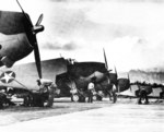 TBF Avengers on the ramp at Kahului Naval Air Station on Maui, Hawaii, shortly after the station opened, Nov 1943.