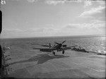 Firebrand IV aircraft aboard HMS Illustrious on the Clyde, Scotland, United Kingdom, 8-9 Feb 1943, photo 8 of 11