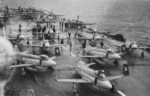 Attacker FB.2, Firefly FR.4, and Firebrand TF.4 aircraft aboard HMS Eagle, 1952-1953; seen in Mar 1953 issue of US Navy publication Naval Aviation News