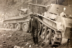 Civilian with damaged KV tanks, date unknown