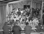 Dining Hall scene at the Manzanar Relocation Center for deported Japanese-Americans, Inyo County, California, United States, 2 Apr 1942.