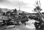 Japanese style tea garden in one of the recreation aeras at the Manzanar Relocation Center for deported Japanese-Americans, Inyo County, California, United States, 1943.