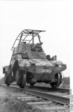 Captured French Panhard Type 178 armored car in German service as a scout rail vehicle, Eastern Europe, early 1942