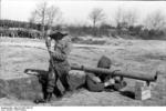 German Panzerschreck crew on exercise, France, spring 1944, photo 1 of 3