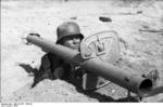 German soldier with Panzerschreck weapon, Germany, 1944, photo 2 of 2