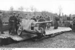 5 cm PaK 38 gun being unloaded from a train car, France or Belgium, 1943-1944