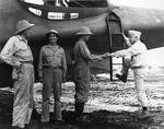 Vice Admiral Aubrey Fitch, right, boards a PBY-5A on Guadalcanal, Solomon Islands, after an inspection visit, May 1943. The others are USMC BGen Francis Mulcahy, USN RAdm Charles Mason, and Army MGen Alexander Patch.