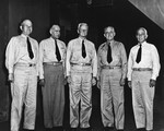 At Nimitz' headquarters in Pearl Harbor are VAdm William Calhoun, VAdm John Towers, Adm Chester Nimitz, Adm Robert Ghormley, and VAdm Aubrey Fitch, 14 Nov 1943. All but Nimitz were classmates at the Naval Academy.