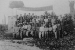 Republic of China personnel at Taiping, Nansha (Spratly) Islands, 14 Dec 1946; front row 4th from left: Interior Ministry representative Zheng Ziyue; 5th: Navy detachment commanding officer Lin Zun; 7th: Nansha Commissioner Mai Yunyu
